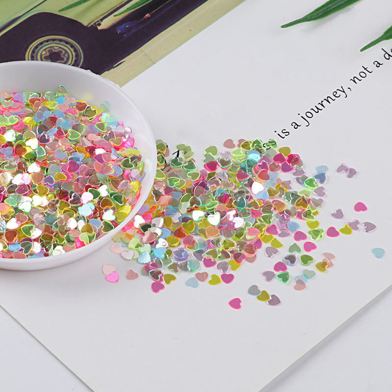 Happy Monkey 10g 3mm Glitter Slices Slime Supplies Toys Hearts Charms Additives For Slices DIY Sprinkles For Fluffy Clear Slime