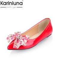 KARINLUNA Women Sweet Bow Tie Style Flats Fashion Slip On Comfortable Spring Autumn Flat Shoes Woman