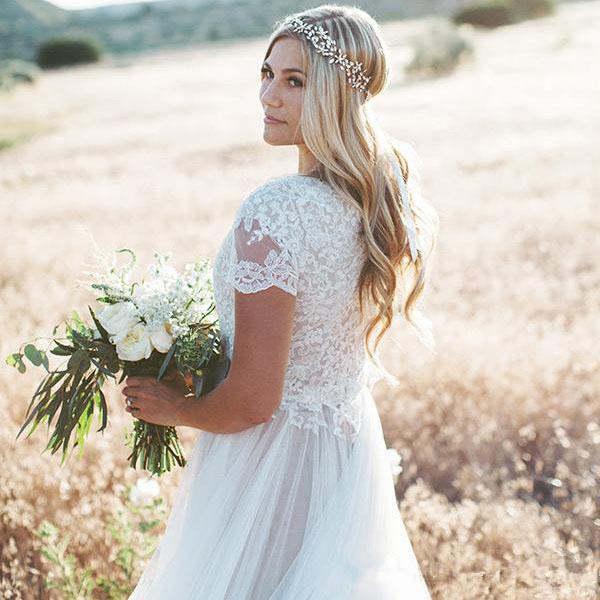 Modest Beach Boho Wedding Dresses 2019 Short Sleeves tulle Plus Size Bridal  Gowns Bohemia Wedding Gowns vestido de novia
