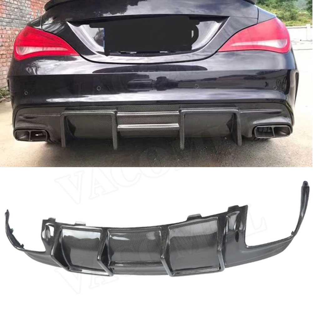 Carbon Look Rear Bumper Splitters Fins For Benz W117 CLA200 CLA250 CLA45 13-19