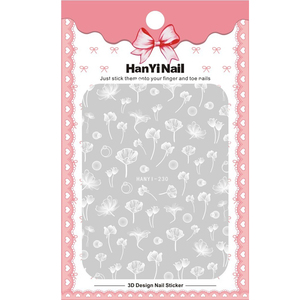 Image 2 - 1 sheet NailMAD Lotus Nail Sticker White Transparent Flower 3D Nail Art Stickers Nail Stickers Nail Decals