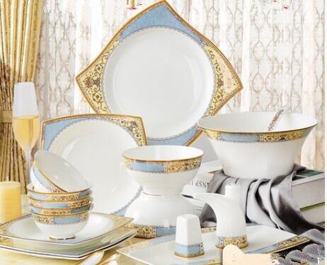 Vaisselle de style européen en porcelaine | Bols, assiettes, céramique, baguettes