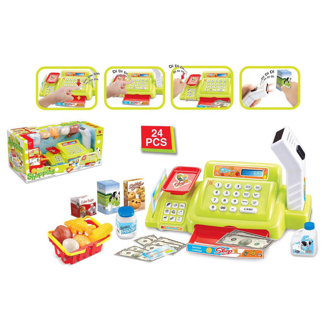 Hot 24Pcs Children Pretend Play Simulation Shopping Toy Supermarket Cash Register Playset Children Early Educational Toy - Green