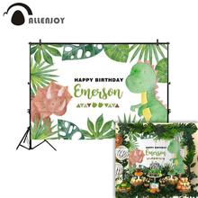 Allenjoy backdrop for photographic studio green plants surround different cute  dinosaur  birthday background photobooth allenjoy christmas background for photo studio wedding gray wood green leaves party backdrop photobooth