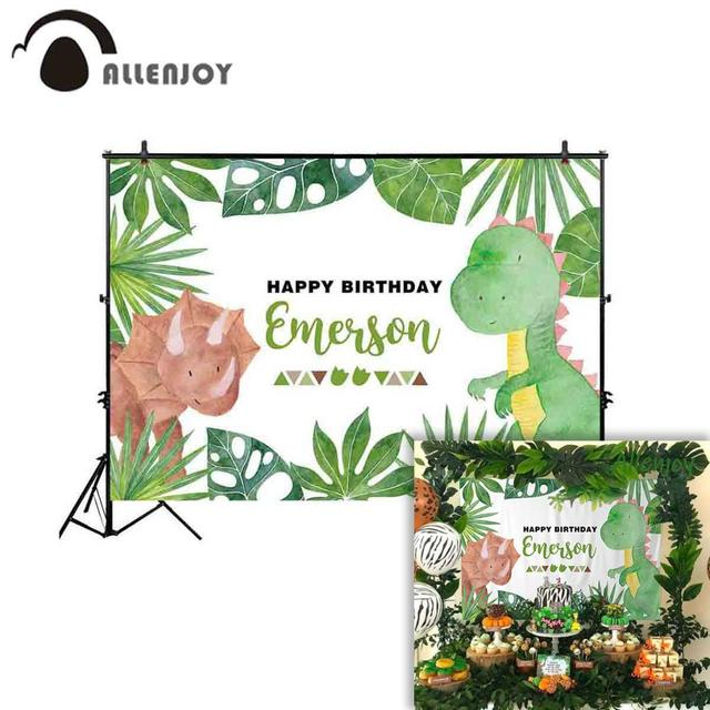 Allenjoy backdrop for photography studio green plant cute Cartoon dinosaur party birthday photo background econ vinyl photophone