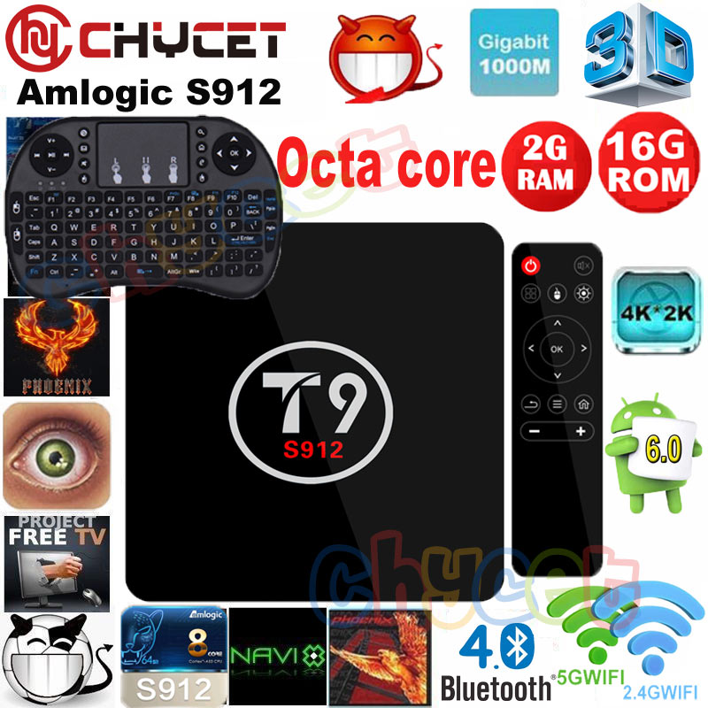 ФОТО T9 TV BOX Android 6.0 Smart TV Box Amlogic S912 Octa core ARM Cortex-A53 2GB/16GB Dual Band WiFi VP9 H.265 UHD 4K Media Player