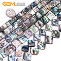 Squqre Diagonal 8mm - 14mm Natural Abalone Shell Gem stone Flatback Loose Beads DIY For Jewelry Making 15