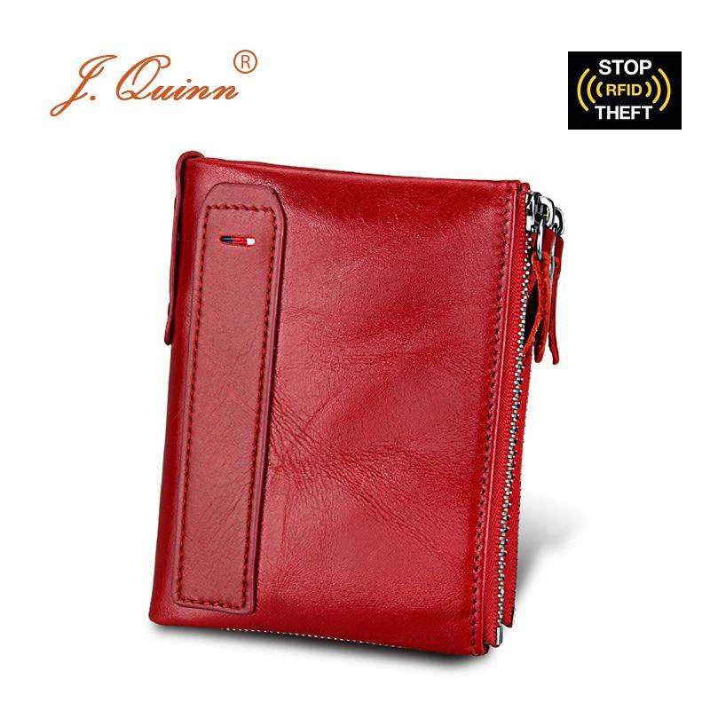 J.Quinn Πορτοφόλι RFID Πορτοφόλι διπλό φερμουάρ Γνήσιο δέρμα Γυναικεία αρσενικά Πορτοφόλια Κάρτες γυναικείων πορτοφολιών νομισμάτων Mens πορτοφόλια τσάντα Μόδα Μάρκα 2017