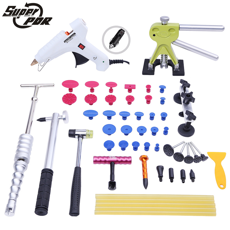 PDR Car dent repair tools kit 12v glue gun T type dent puller pulling bridge glue tabs 42pcs hand tools Paintless Dent Removal  цены