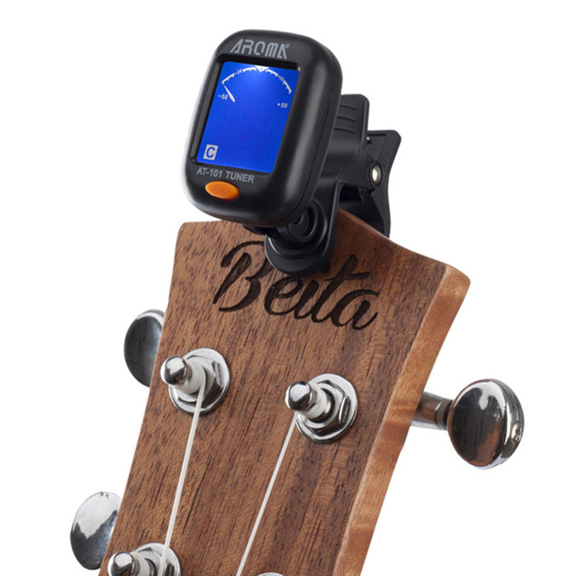AT-101 AROMA Mini Size Clip Type Guitar Instrument Tuner Guitar Bass Ukulele Electrical Digital Clip Tuner free shipping