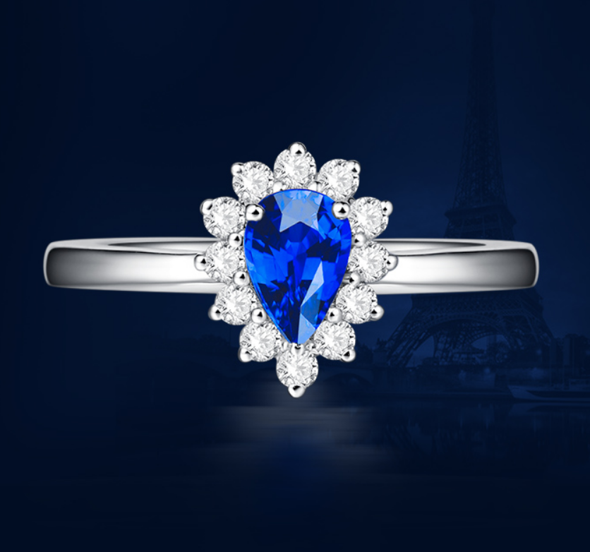 1 carat pure 925 silver flower ring sapphire tanzanite man made diamond jewelry for women US size from 4.5 to 9 (LA)