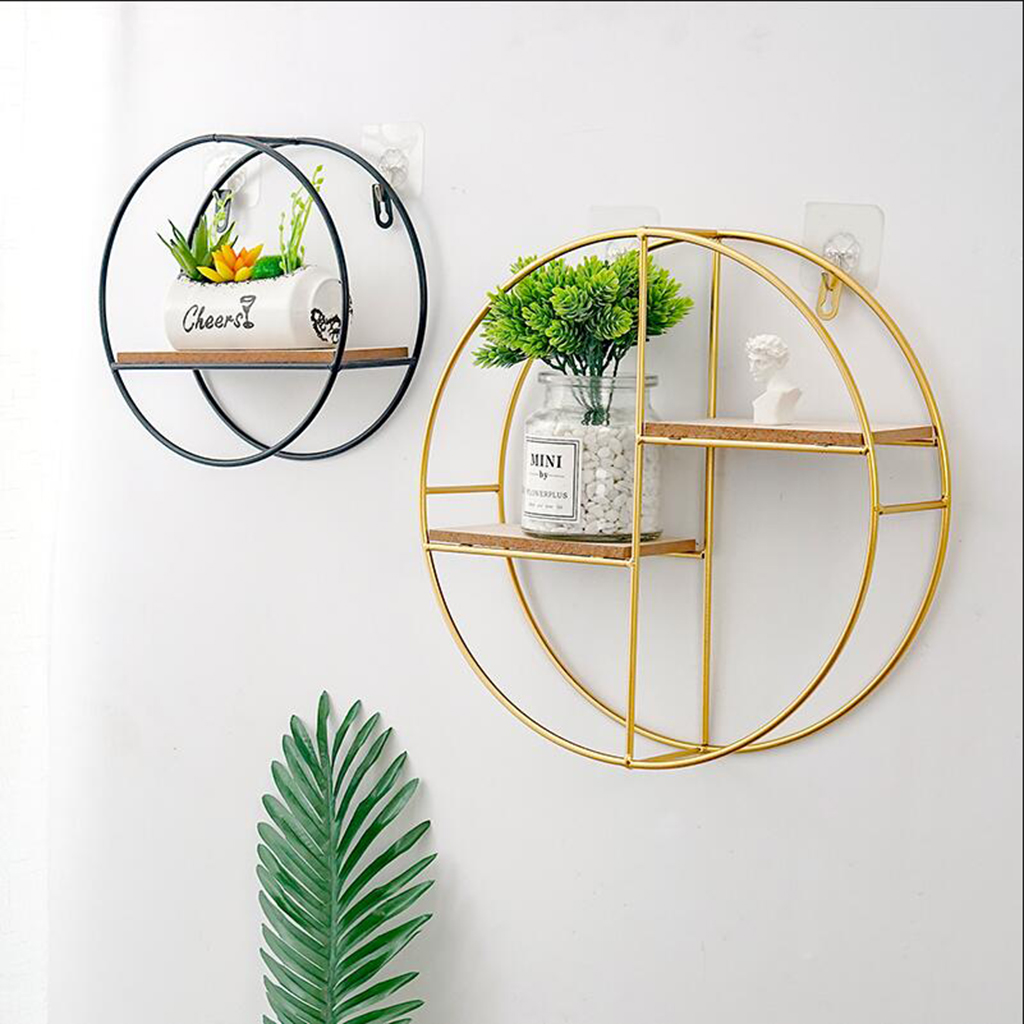 Audacious Garden Decor Iron Floating Shelves Corner Square Storage Shelf Wall Display Rack Bathroom Shelves