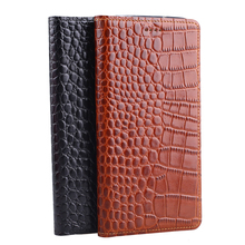 Hot Genuine Leather Crocodile Grain Magnetic Stand Flip Cover For Sony Xperia T2 Ultra Dual Luxury