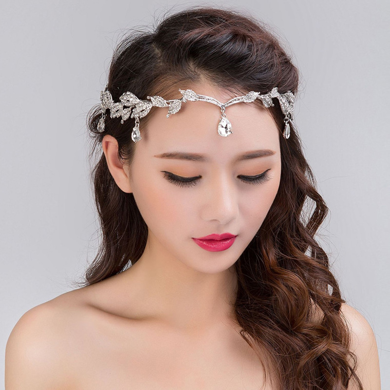 Silver Bridal Hair Bands Crystal Headbands Women Hair Wedding Accessory Rhinestone Tiaras Crowns Head Jewelry Water Drop Chain
