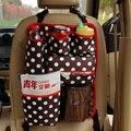 Alta Calidad Polka Dot Organizador Asiento Trasero Del Coche Multi Del Bolsillo Caja de almacenamiento Colgando Bolsa Térmica para Bebés y Niños Niños-café