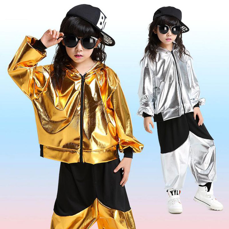 Girls Boys Gold Sliver Ballroom Jazz Hip Hop Dance Competition Costumes Hoodie Shirt Tops Pants For Kid Dancing Suit Wear Outfit