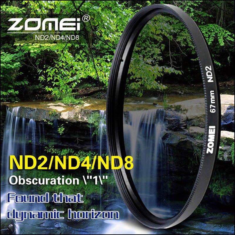 Zomei 52mm 55mm 58mm 62mm 67mm 72mm 77mm 82mm densidad neutra ND2 ND4 ND8 nd filtro para Canon Nikon Olympus Pentax hoya lente