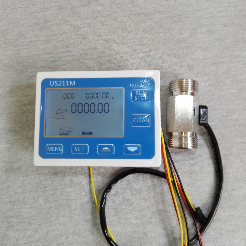 US211M Display with USS-HS43TB SS 304 Flow Meter Totalizer Flow Measurement 2-45L/min Range G3/4 Male Thread us211m display with usc hs43tb brass flow meter totalizer flow measurement 2 45l min range g3 4 male thread