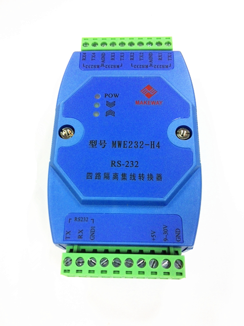 MWE232-H4 Industrial Class 4-way RS-232 Isolated Hub Serial Port ConverterMWE232-H4 Industrial Class 4-way RS-232 Isolated Hub Serial Port Converter