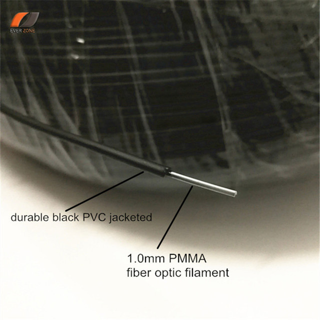 Pointed światła bez promieniowania UV i podczerwieni 2.0mm PMMA z tworzywa sztucznego światłowód koniec lekki przewód 500 m/rolka na zewnątrz i pod wodą najlepsze rozwiązanie