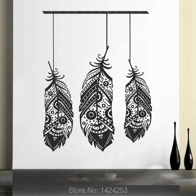 BATTOO Feather Large Wall Decals  Bohemian Bedroom Decor  Boho Bedroom Decor   Tribal Pattern  Bedroom Wall Stickers