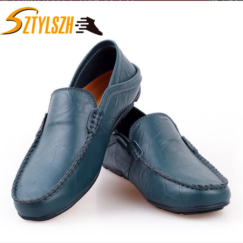 2019 Men's Driving Shoes Men Genuine Leather Loafers Shoes Fashion Handmade Soft Breathable Moccasins Flats Slipe On Shoes 37-47