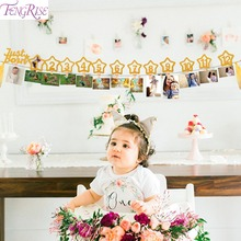 FENGRISE 12 Months Photo Clip Banner Baby Girl First Birthday Party Decorations Frame 1 year 1st Decor
