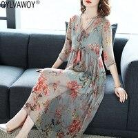 100% шелк Винтаж платье женская одежда 2019 комплект из двух предметов Floral Midi Повседневное летнее платье элегантные женские платья Vestidos MY2804
