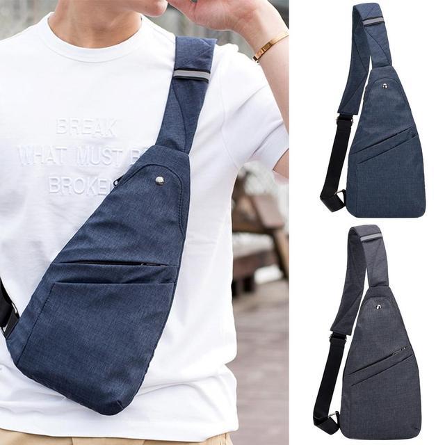Fashion Thin Light Men Canvas Anti-theft Travel Outdoor Shoulder Chest crossbody bag messager bag for men
