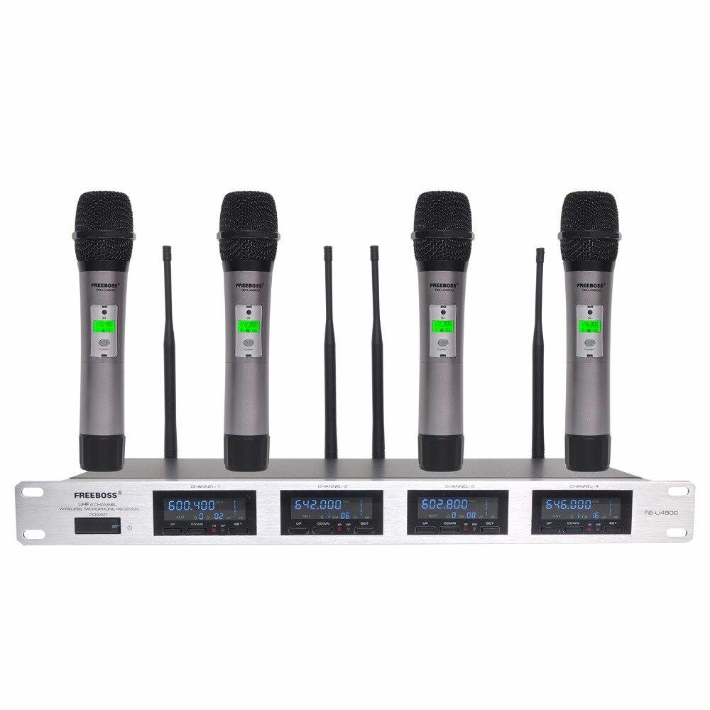 Freeboss 4 Voies 4*100 Canaux PLL IR Fréquence UHF Sans Fil Microphone Avec 4 Métal Ordinateurs de Poche pour Karaoké KTV Partie Dynamique Mic