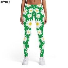 KYKU Brand Flower Leggings Women Harajuku Elastic Art Sport Abstract Printed pants Green Sexy Womens Leggings Pants Casual
