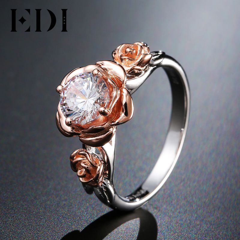 EDI Genuine Natural Rose Flower 1ct Moissanite Diamond Wedding Ring 14K Solid Rose Gold Gemstone Ring Bridal Fine Jewelry