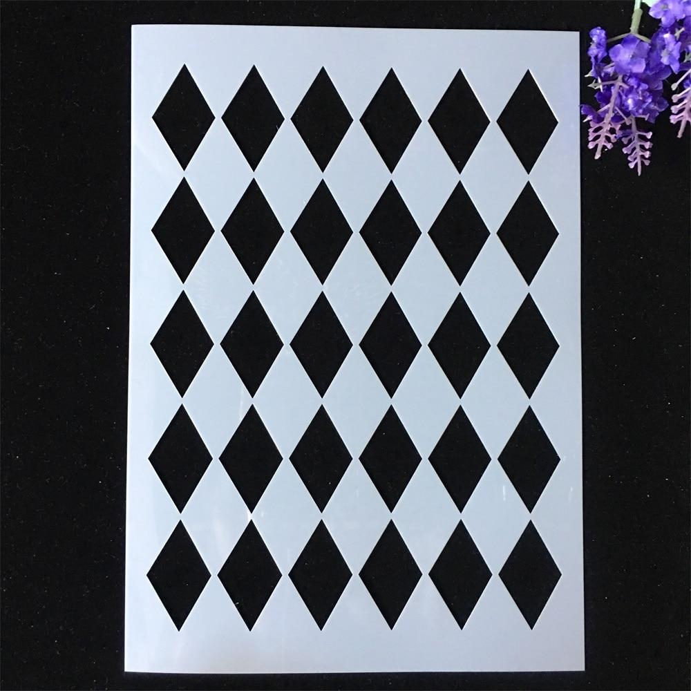 1Pcs A4 29*21cm Diamond Geometry DIY Layering Stencils Painting Scrapbook Coloring Embossing Album Decorative Card Template