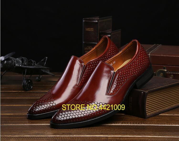 Pointed toes Mens Dress Shoes Slip-On Smart Casual Flats Loafer Elastic Band Genuine Leather Snakeskin Male Oxfords Red WeddingPointed toes Mens Dress Shoes Slip-On Smart Casual Flats Loafer Elastic Band Genuine Leather Snakeskin Male Oxfords Red Wedding