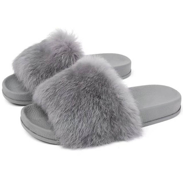 012ab70681103 Womens Flat Non-slip Soft Fluffy Faux Fur Flat Slipper Flip Flop Sandal  High quality flip flops multifunctional slippers slidesT