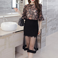 Floral Print Blouse And Lace Sexy Black Skirt 2016 Summer Chiffon 2 Piece Set Women New Elegant Slim Clothing