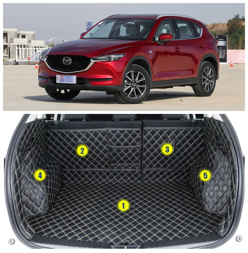 For Mazda CX-5 CX5 2017.2018 Full Rear Trunk Tray Liner Cargo Mat Floor Protector foot pad mats High Quality Embroidery Leather auto floor mats for honda cr v crv 2007 2011 foot carpets step mat high quality brand new embroidery leather mats