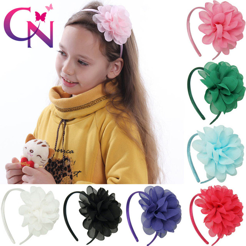 10 Pcs/lot 10 Color Soft Chiffon Flower Hairband With Satin Covered For Kids Boutique Hard Headband Hair Accessories 10pcs lot high quality chiffon flower hairband headband alice band for kids girls handmade headband children hair accessories