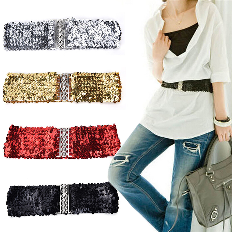1pc Free Size Wide Stretch   Belt   Women Shinny Cummerbund High Fashion Metallic Sequin Women Dress   Belts   Gold/Black/Silver
