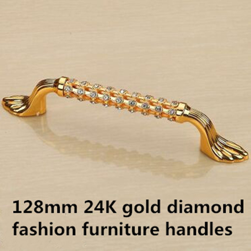 128mm fashion deluxe glass diamond furniture decoration handles crystal wine cabinet pull gold dresser wardrobe door handle 5 entrance door handle solid wood pull handles pa 377 l300mm for entry front wooden doors