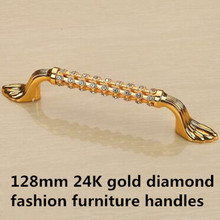128mm fashion deluxe glass diamond furniture decoration handles crystal wine cabinet pull gold dresser wardrobe door
