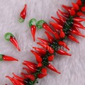 "Free Shipping New without tags Fashion Jewelry 5X18MM Red Lampwork Glass pepper Loose Beads Strand 15.5"" RA431"