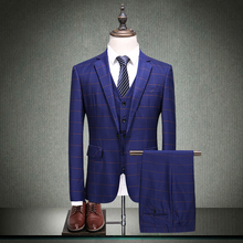 fashion mens vintage suits 3 pieces men formal wedding party groomsmen plaid luxury for