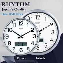 RHYTHM 12inch 16inch Simple Circular Wall Clock Calendars Silent Quartz Movement Environmental ABS Frame HD Anti