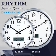 RHYTHM 12inch/16inch Simple Circular Wall Clock Calendars Silent Quartz Movement Environmental ABS Frame HD Anti-fog Clock Face