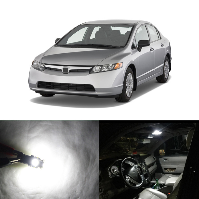 Error Free Led Interior Light Kit Package For <font><b>Honda</b></font> <font><b>Civic</b></font> <font><b>Accessories</b></font> Coupe And Sedan 2006-2012 Car-Styling Dome Map Trunk Lamp image