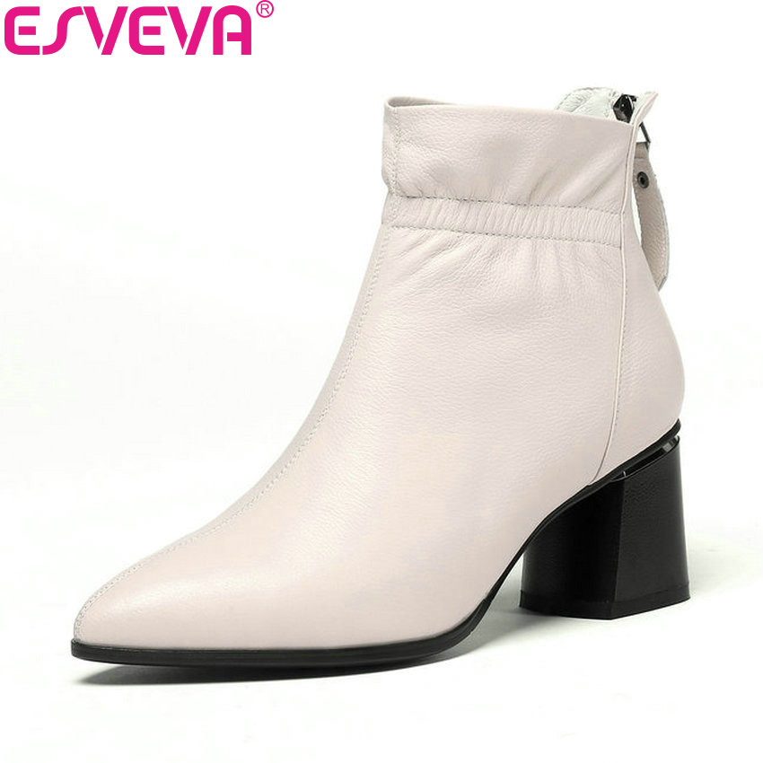 ESVEVA 2019 Women Boots Zip Ankle Boots Square High Heels Shoes Pointed Toe Cow Leather PU Woman Chelsea Boots Shoes Size 34-42 esveva 2018 women boots square high heels boots pu cow leather short plush pointed toe knee high boots ladies boots size 34 42