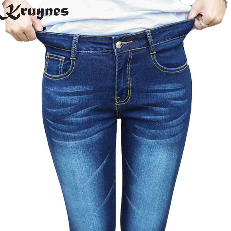 Large Size Elastic High Waist Jeans For Women With Stretching Denim bleached Jeans Skinny Pencil Trousers For Women big size spring denim jeans for women slim high elastic waist skinny pencil pants jeans trousers bleached big size female washed casual