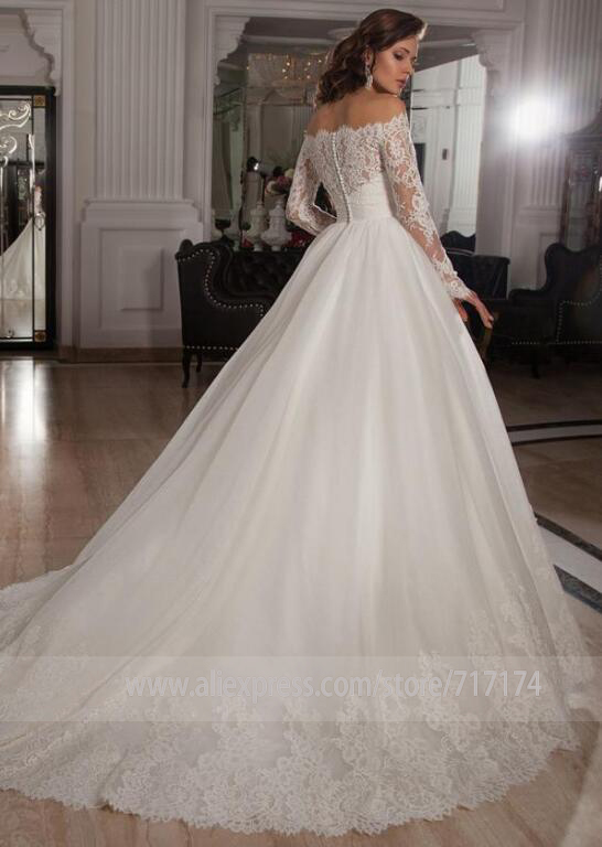 Vintage Off the Shoulder Long Sleeves Lace A-line Wedding Dress with Crystal Belt Button Back Court Applique Train Bridal Dress