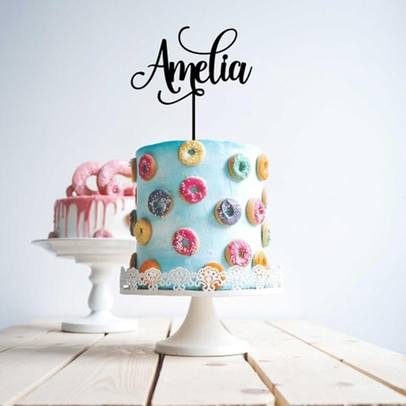 Custom Personalized Name Cake Topper Happy Birthday Cake